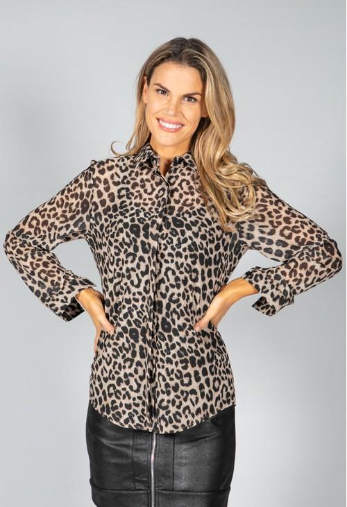 Pamela Scott Beige Leopard Print Blouse