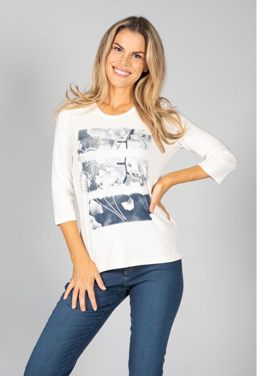 Olsen ¾ SLEEVE TOP WITH PLACEMENT PRINT IN IVORY