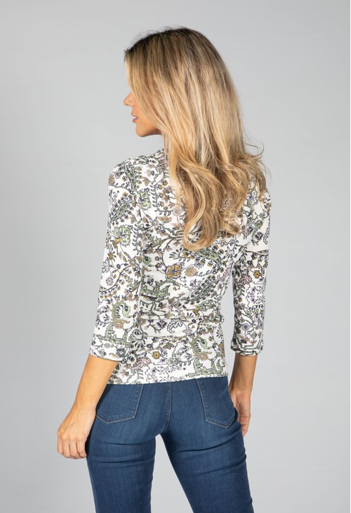 Olsen ¾ SLEEVE TOP WITH ALL OVER PRINT IN IVORY