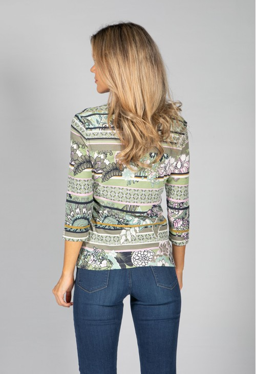 Olsen ROUND NECK TOP WITH FLORAL AND STRIPE DESIGN