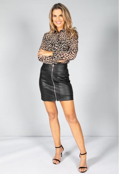 Pamela Scott Zip Up Snake Print Skirt in Black