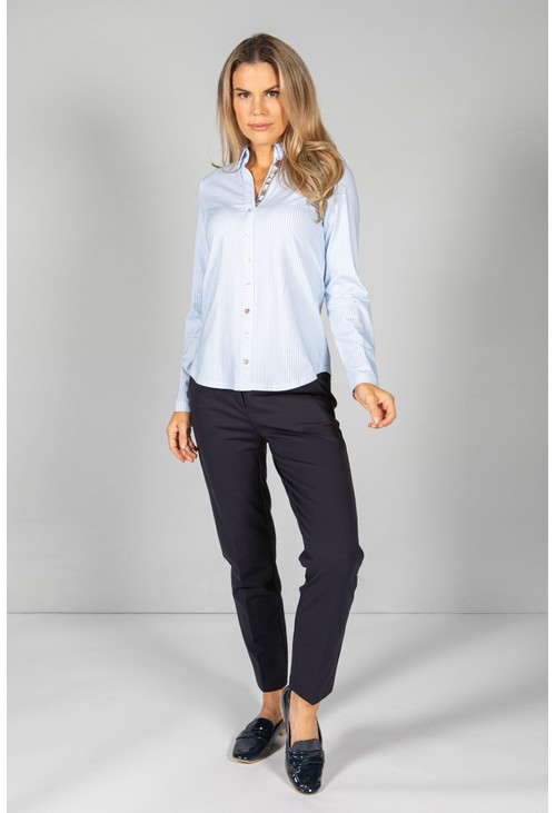 Just White Blue Gingham Shirt