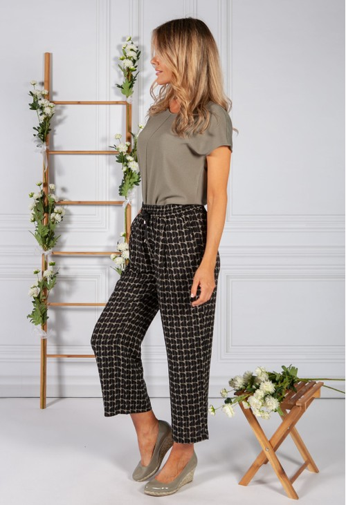 Opus Trousers with print Mahola abstract in Soft Green