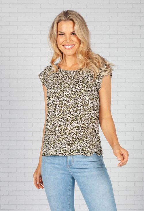 Opus Blouse with print Fannie abstract in Black