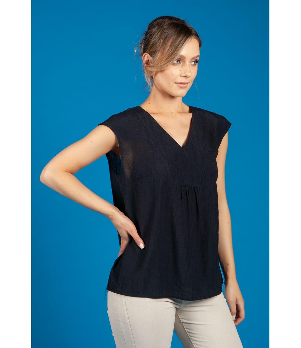 Opus Farani crepe summer blouse in Navy