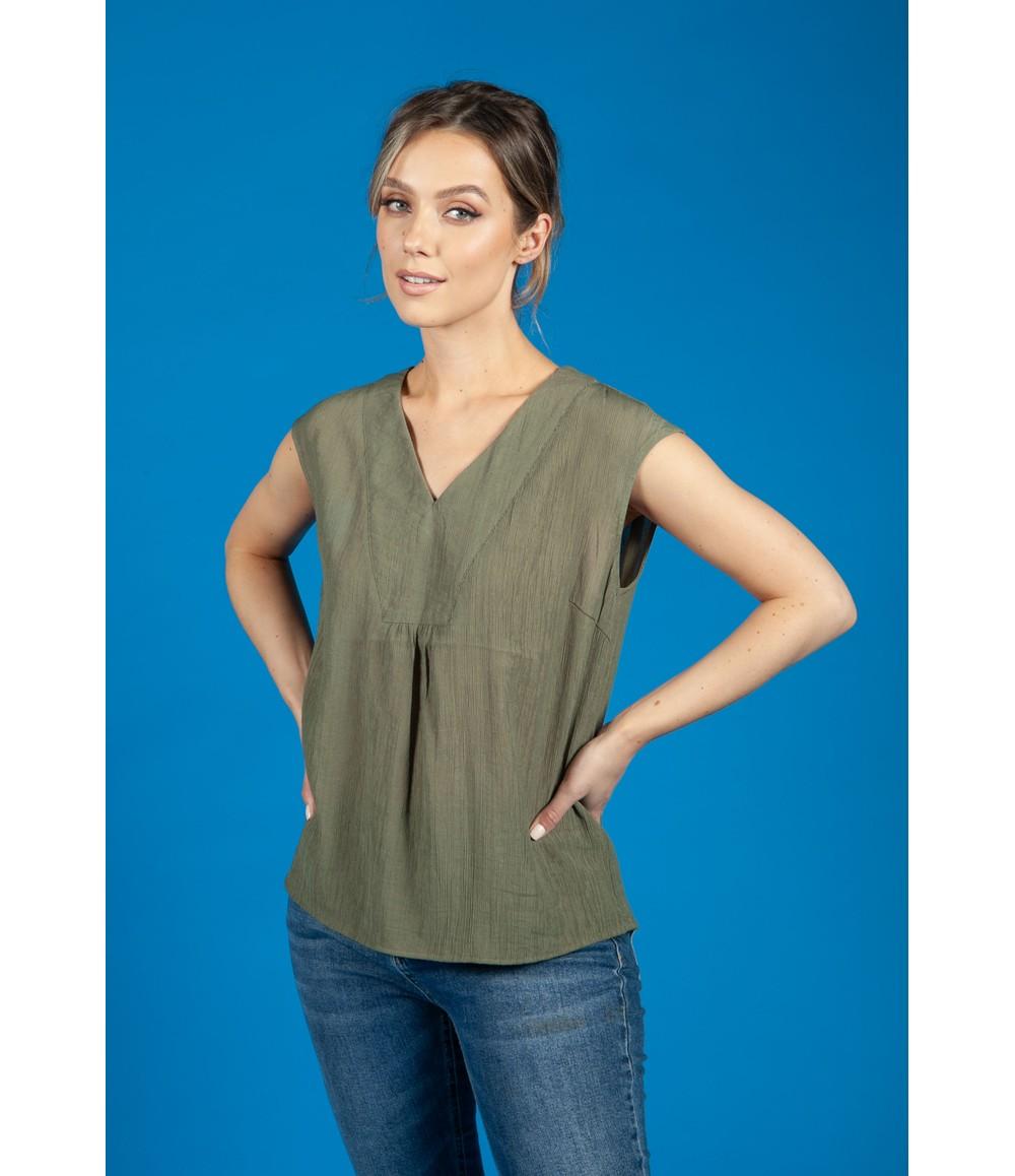 Opus Farani crepe summer blouse in Soft Moss