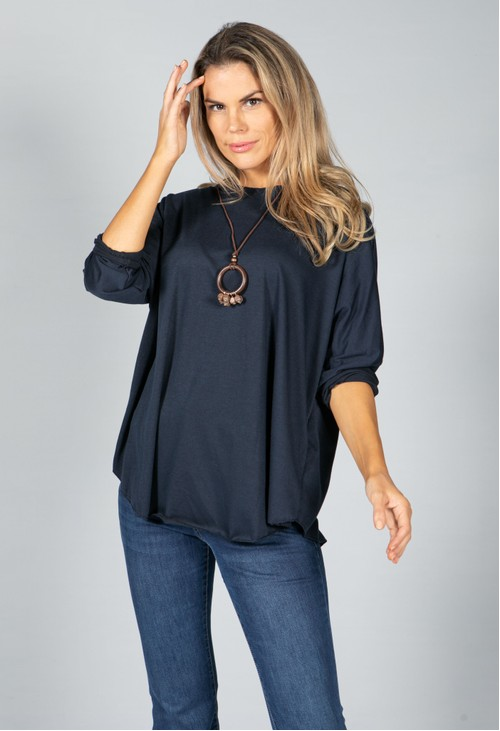 Pamela Scott Round Neck Relaxed Top with Necklace in Navy