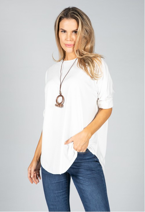 Pamela Scott Round Neck Relaxed Top with Necklace in White