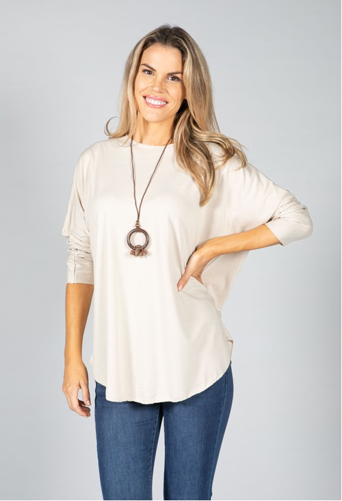 Pamela Scott Round Neck Relaxed Top with Necklace in Sand