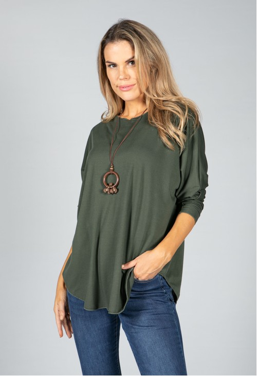 Pamela Scott Round Neck Relaxed Top with Necklace in Khaki