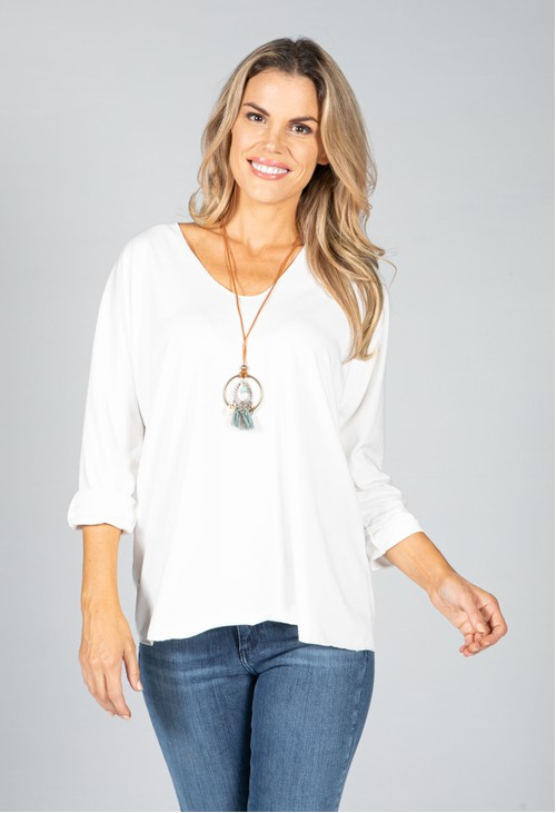 Pamela Scott V-Neck Relaxed Top with Necklace in White