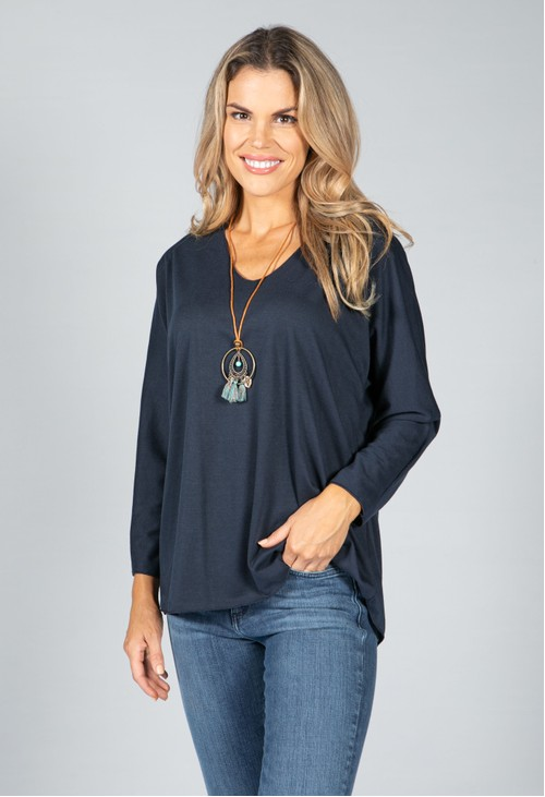 Pamela Scott V-Neck Relaxed Top with Necklace in Navy