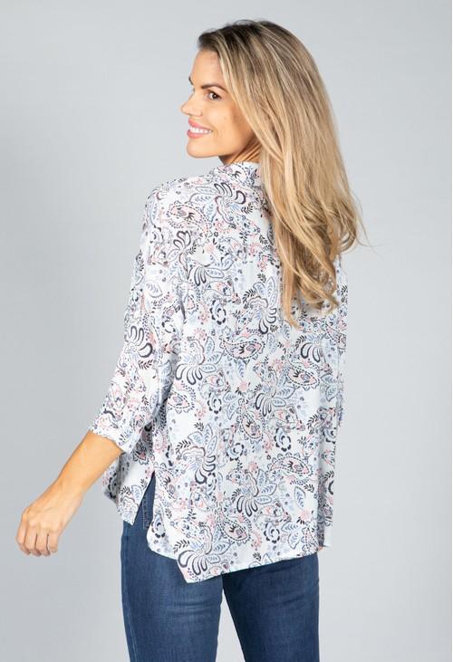 Pamela Scott Mini Blossom Print Shirt in White