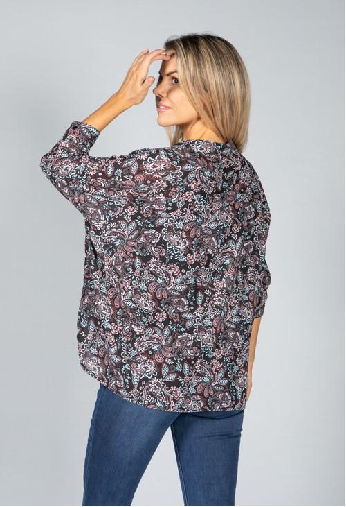 Pamela Scott Mini Blossom Print Shirt in Black