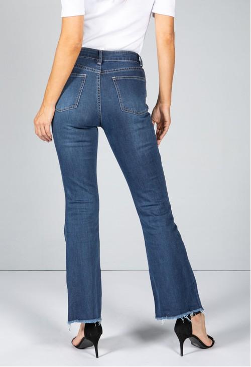 Pamela Scott Mid-Wash Frayed Hem Flared Jeans