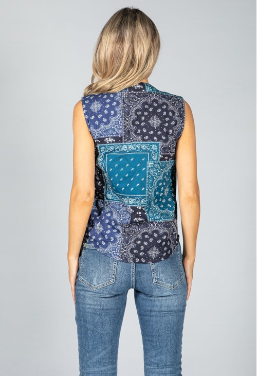 Pamela Scott Sea Blue Paisley Vest