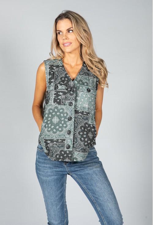 Pamela Scott Khaki Mix Paisley Vest