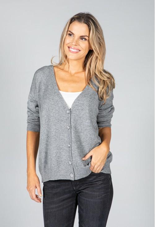 Pamela Scott Peace Fine Knit Cardigan in Mid Grey