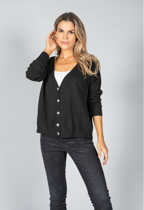 Pamela Scott Peace Fine Knit Cardigan in Black