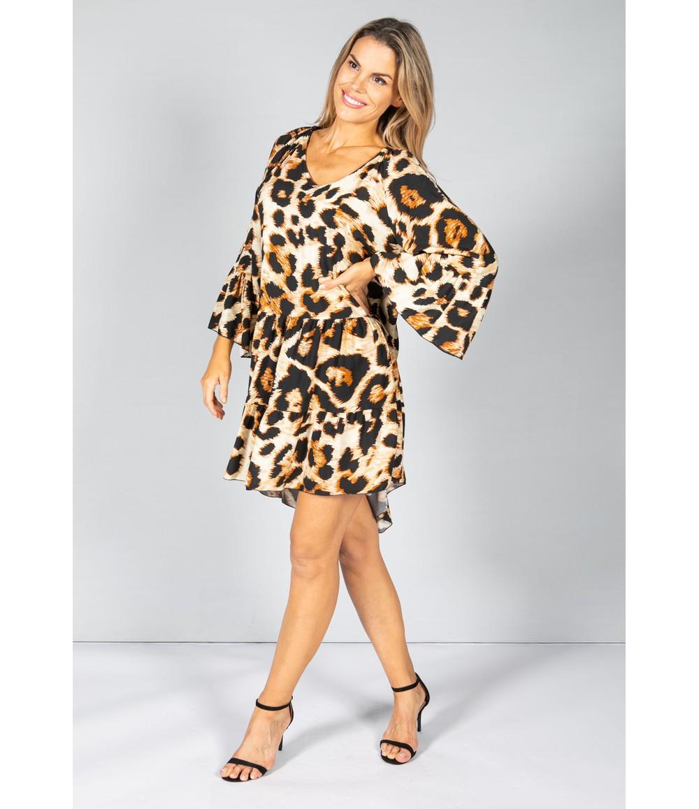 Pamela Scott Relaxed Fit Leopard Print Dress in Beige
