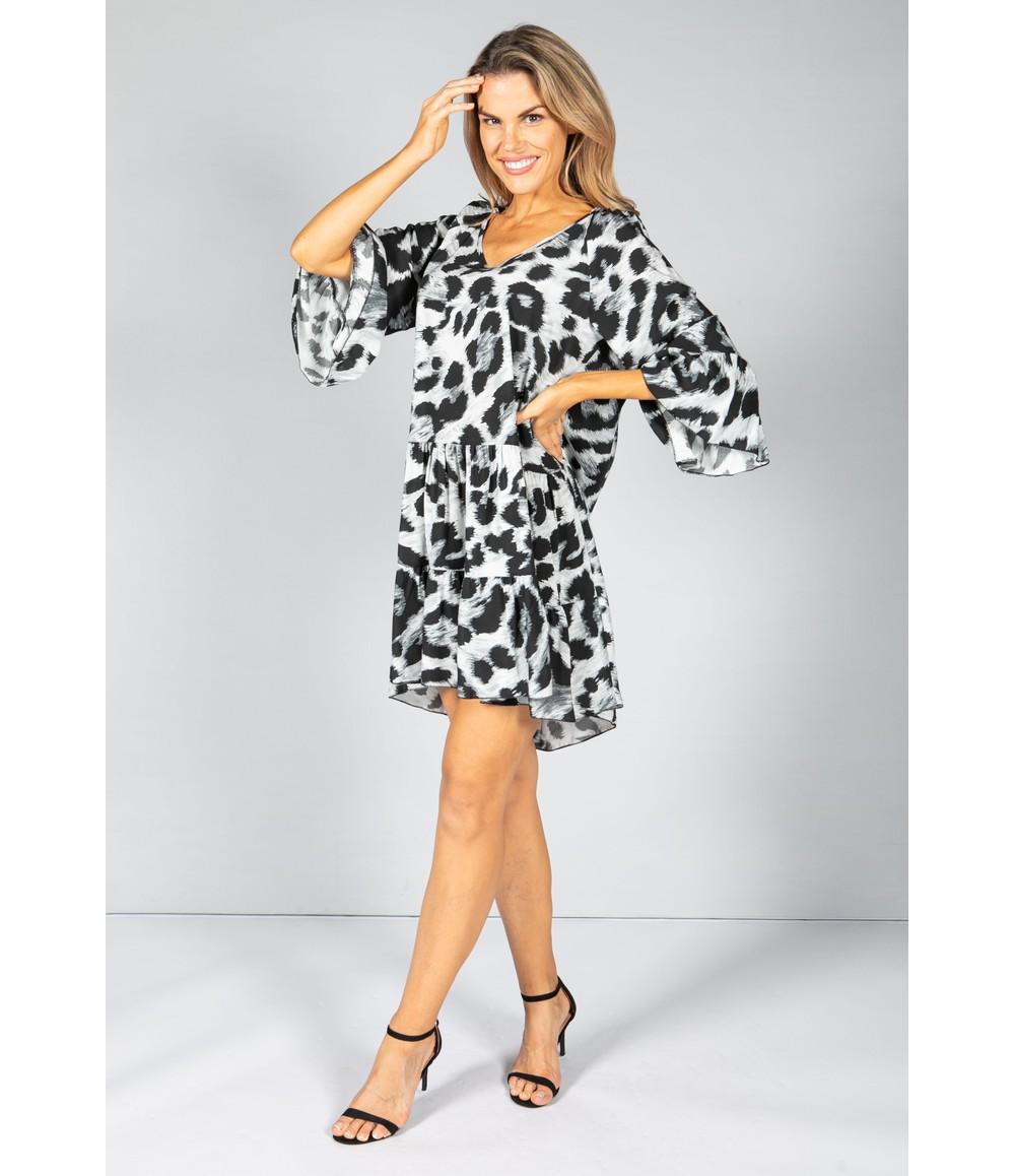 Pamela Scott Relaxed Fit Leopard Print Dress in Grey