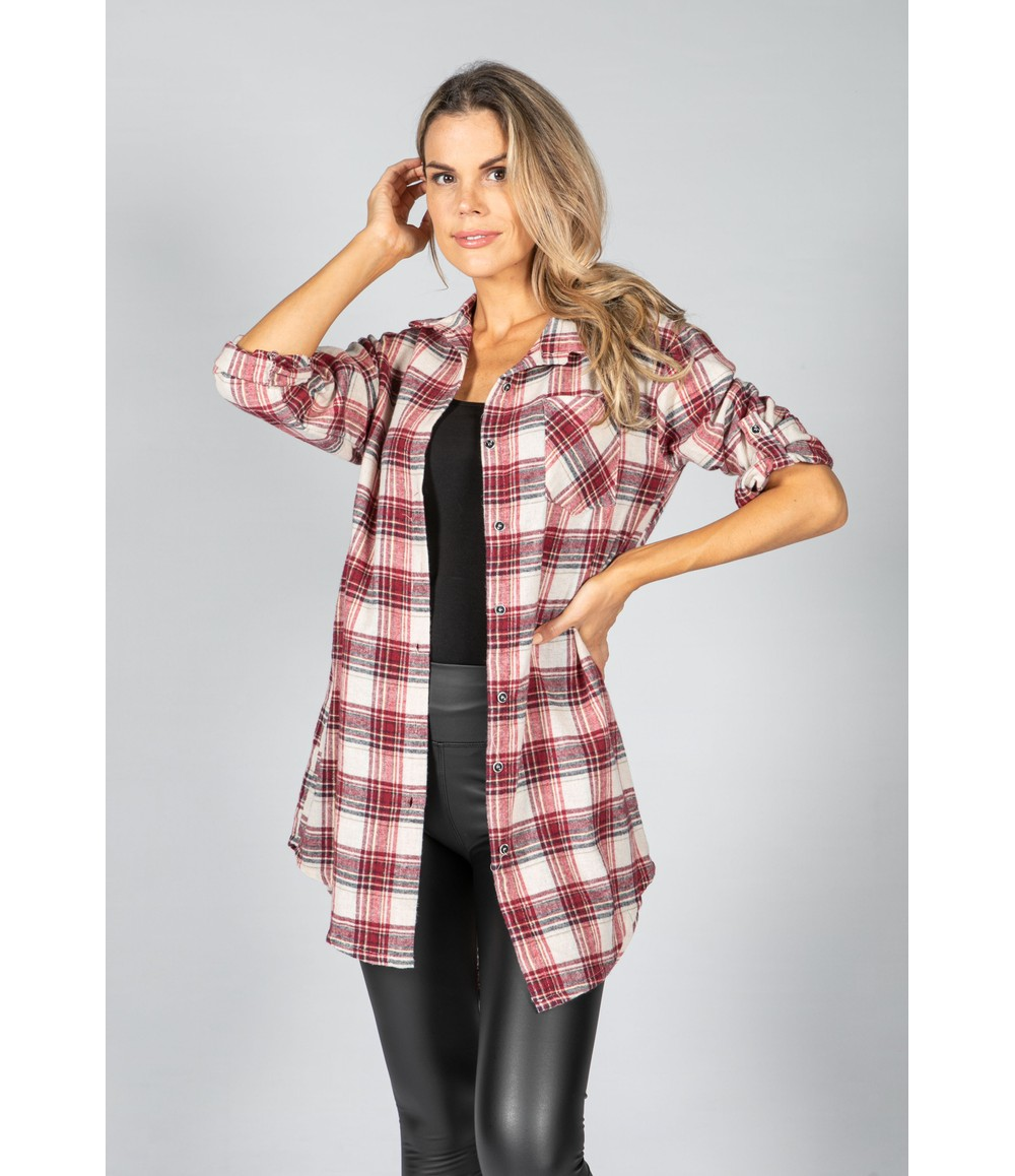 Pamela Scott Port Red Check Shirt