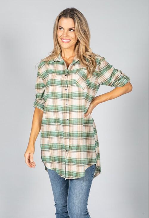 Pamela Scott Soft Moss Check Shirt