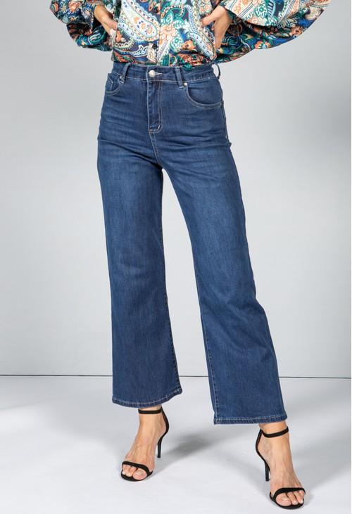Pamela Scott Mid Wash Wide Leg Jeans