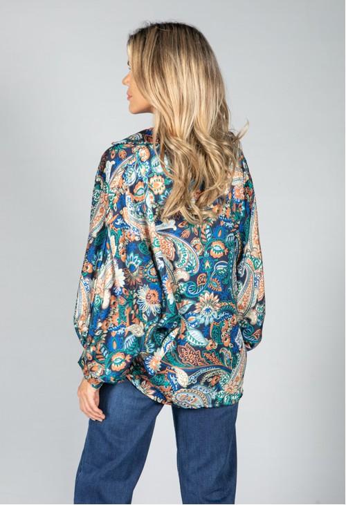 Pamela Scott Groovy Paisley Print Shirt in Navy