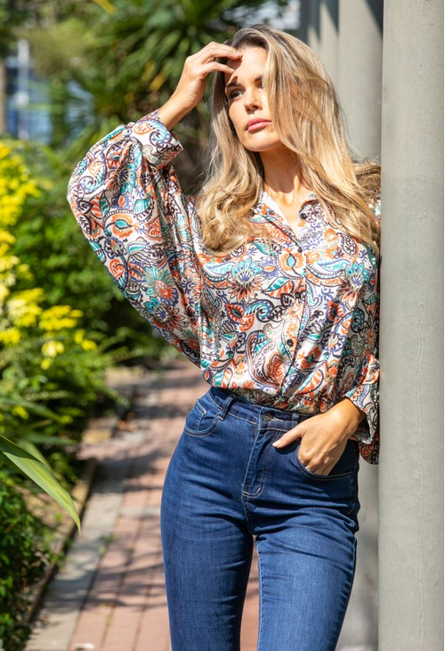 Pamela Scott Groovy Paisley Print Shirt in Soft Beige