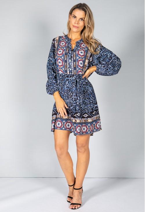 Pamela Scott BLUE LEOPARD PRINT SHIRT DRESS