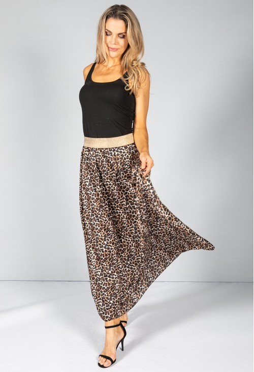 Pamela Scott Glittered Waistband Leopard Print Skirt