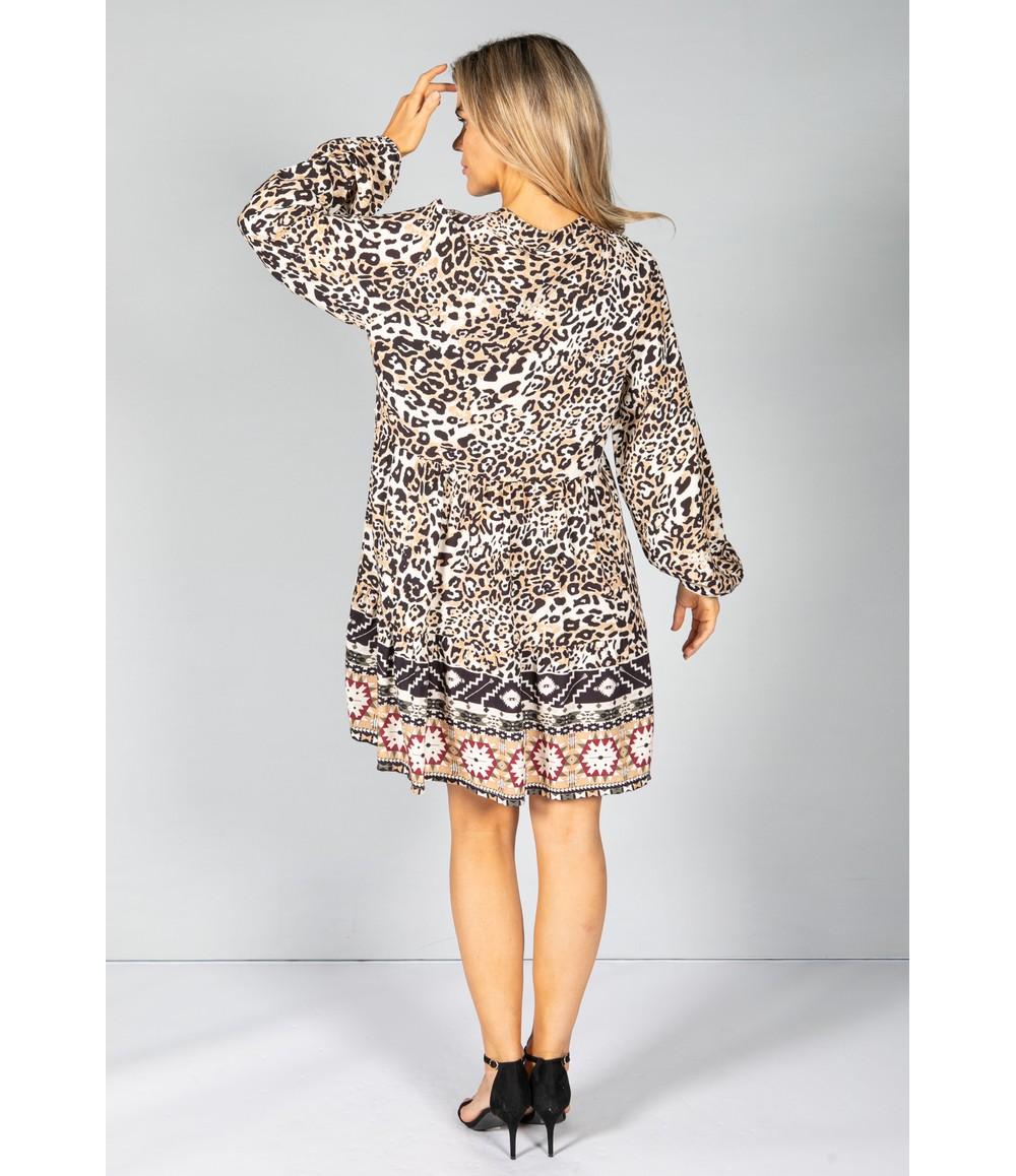 Pamela Scott CREAM LEOPARD PRINT SHIRT DRESS