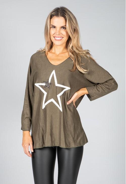 Pamela Scott Fine Knit Star Design Top in Khaki