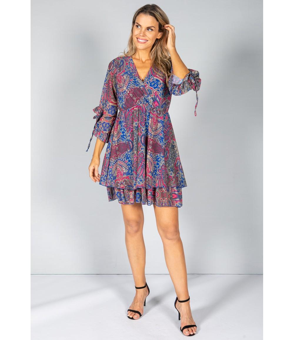 Pamela Scott V-NECK RUFFLE DRESS IN PAISLEY PRINT