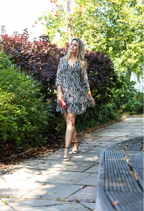 PAMELA SCOTT V-NECK RUFFLE DRESS IN LEOPARD PRINT