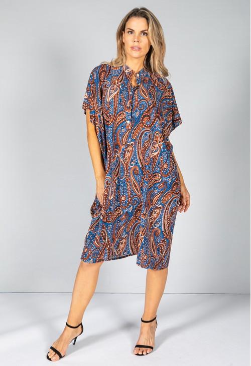 Pamela Scott Paisley Print Midi Dress