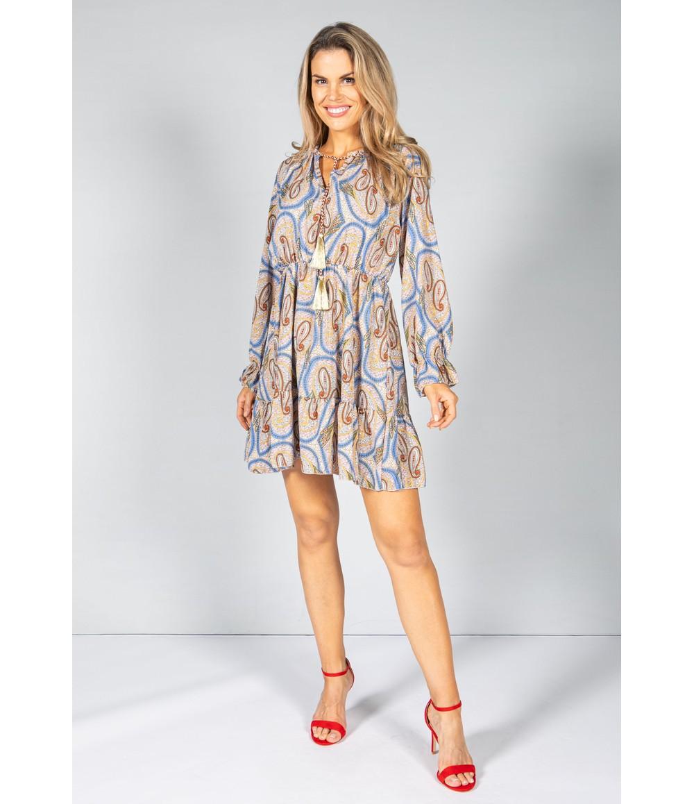 PAMELA SCOTT PAISLEY PRINT TIE NECK DRESS IN BEIGE