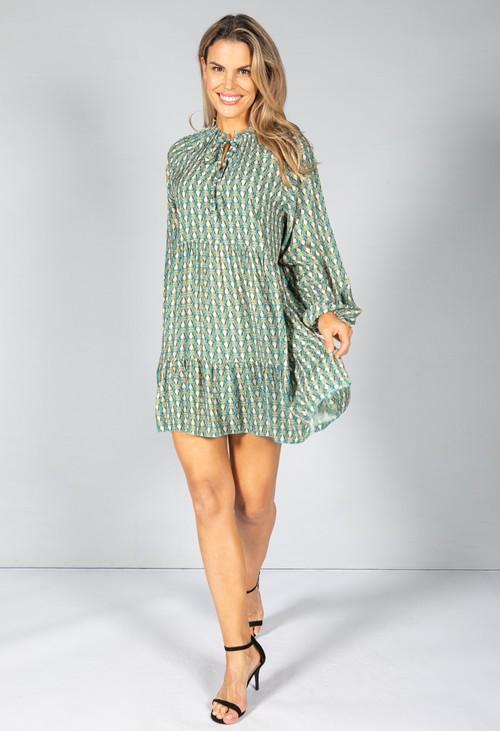 Pamela Scott Retro Print Dress in Burnt Sage