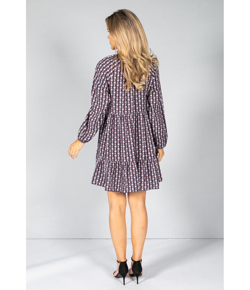 Pamela Scott Retro Print Dress in Navy