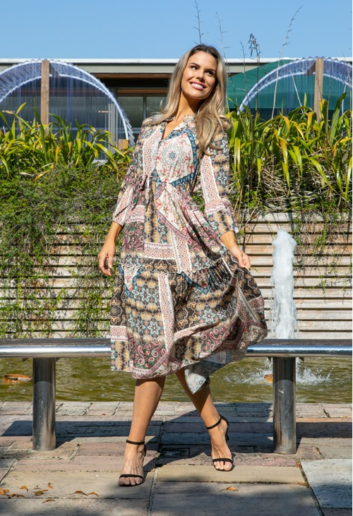 Pamela Scott MIDI SHIRT DRESS IN PAISLEY PRINT