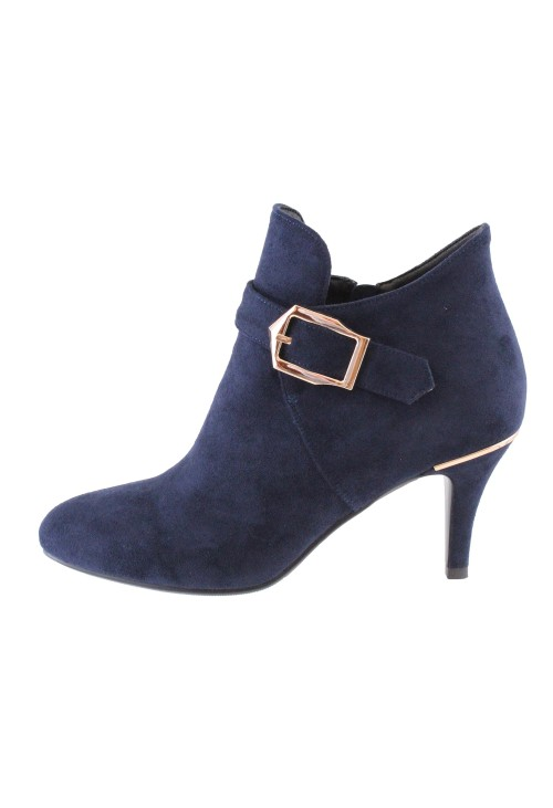 Susst Navy Microfibre Boot With Buckle Detail