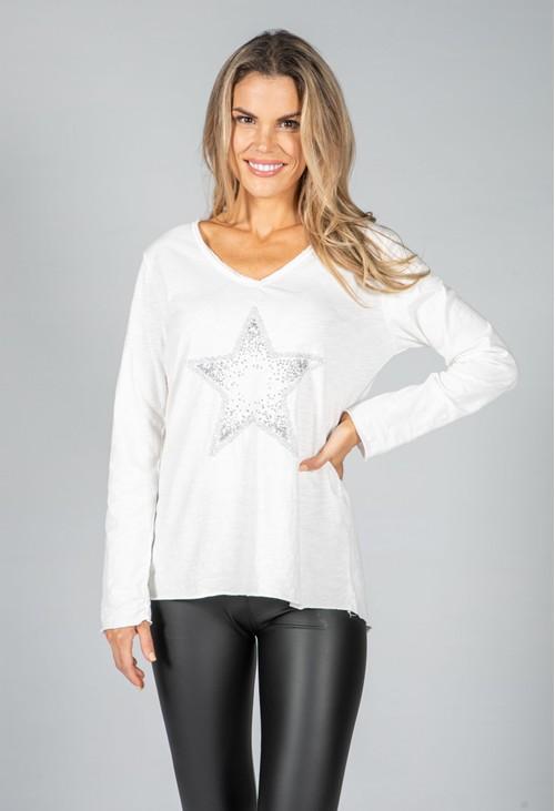 Pamela Scott Sequin Star Design Top