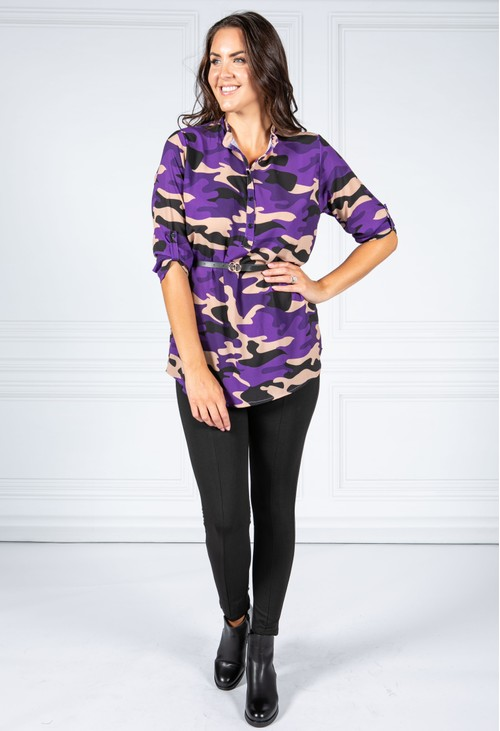 Pamela Scott Belt Camo Shirt in Deep Purple