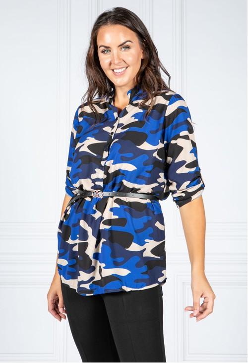 Pamela Scott Belt Camo Shirt in Marine Blue