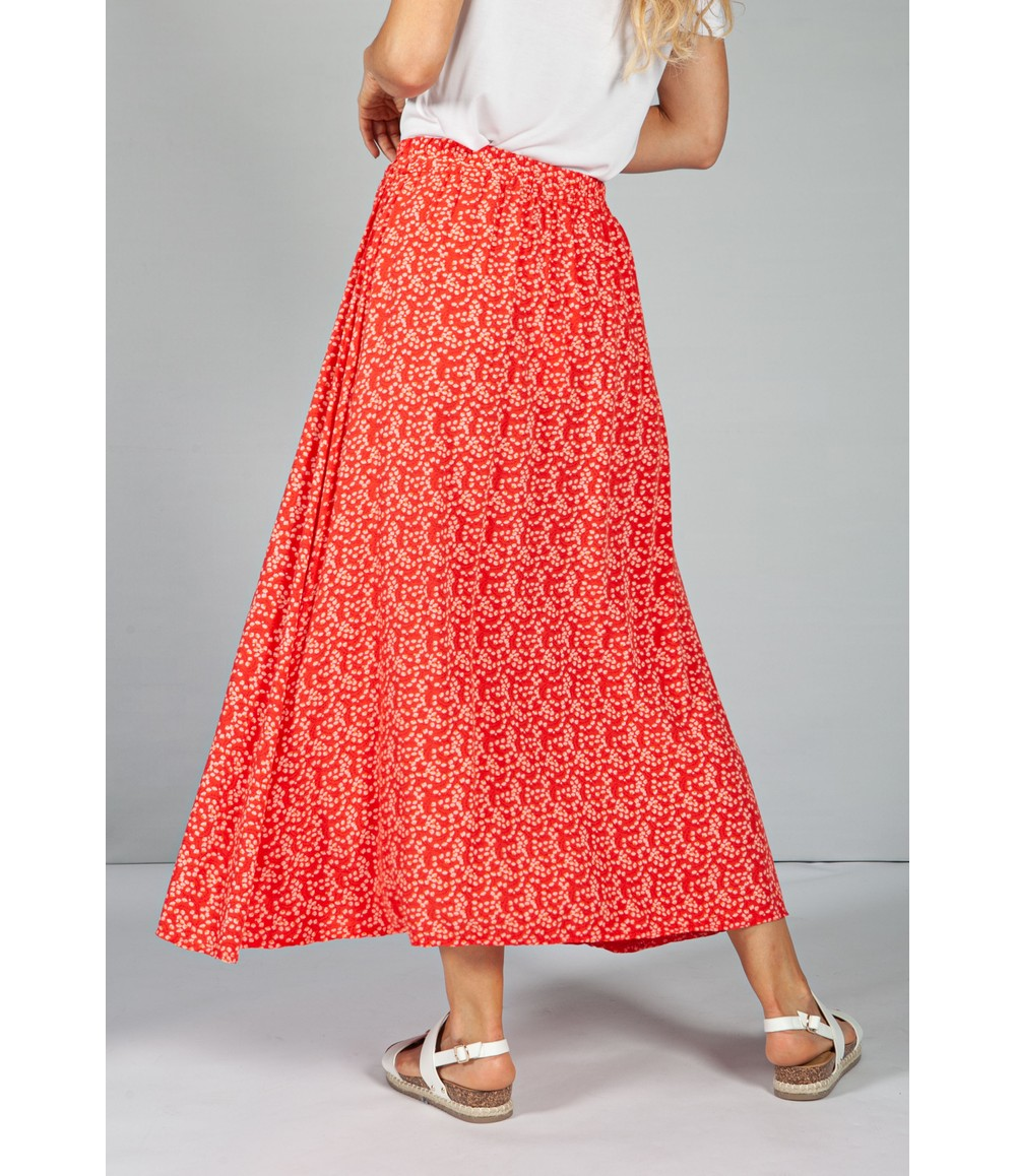 Emporium Mini Bloom Faux Button Down Skirt in Ruby Red