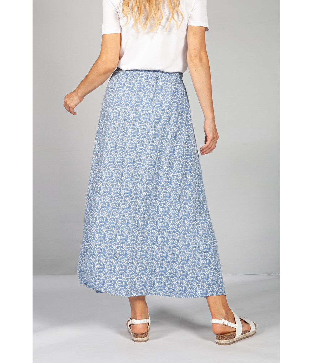 Emporium Mini Bloom Faux Button Down Skirt in Afternoon Sky Blue