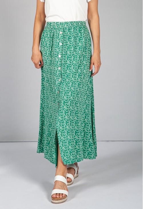 Emporium Mini Bloom Faux Button Down Skirt in Spring Green