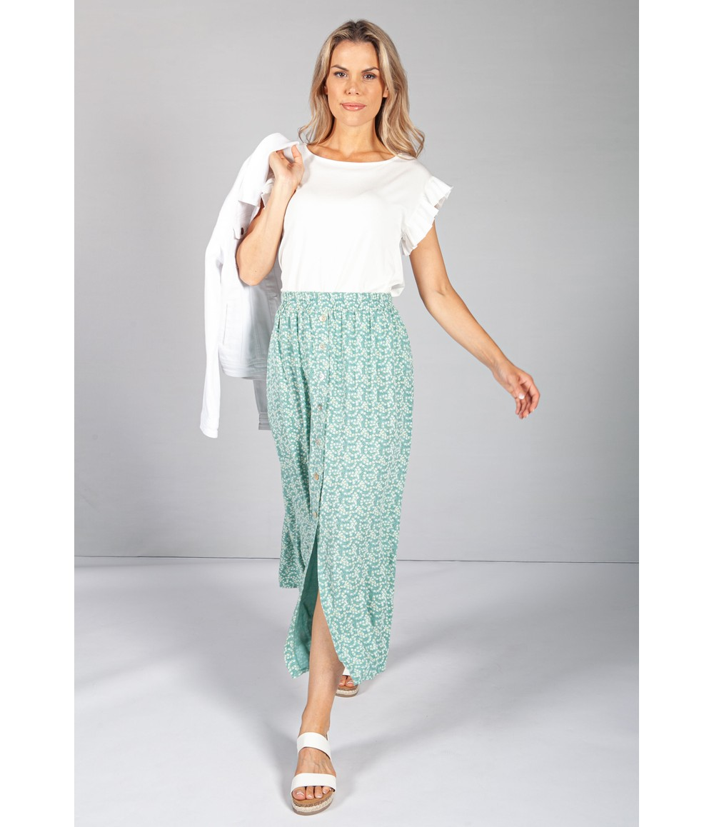 Emporium Mini Bloom Faux Button Down Skirt in Sage