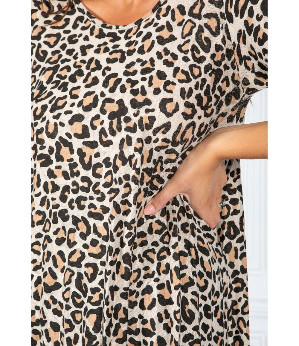 Pamela Scott Cheetah Print Dress in Sand